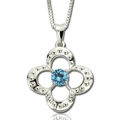 Birthstone Silber Vier Clover Gute Glücksbringer Halskette Sterling