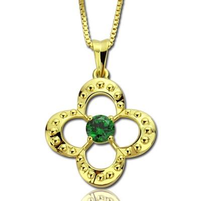 Clover Lucky Charm Halskette mit 18 karätigem Gold überzogen Geburtsstein