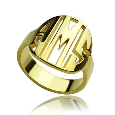 Personalisierte Block Kreis Monogramm Ring 18 Karat Gold überzogen