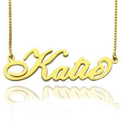 Personalisierte Halskette Namensschild Carrie in 18 karätigem Gold überzogen