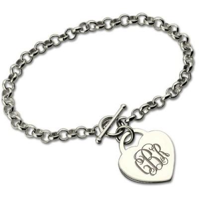 Personalisierte Monogramm Charme Armband für sie Silber