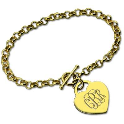 Herz Monogramm Initialen Charme Armbänder in 18 karätigem Gold überzogen