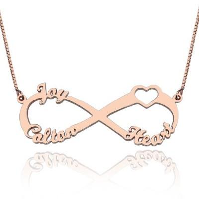Herz Unendlichkeit Halskette 3 Namen 18ct Rose Gold überzogen
