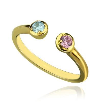 Dual Ring birthstone 18 karätigem Gold überzogen