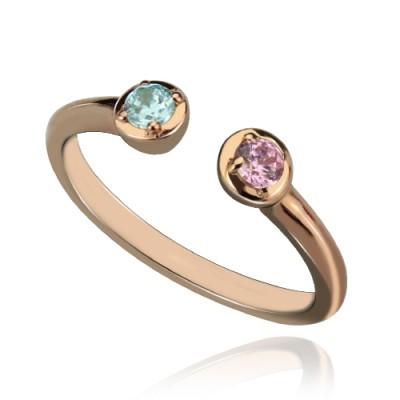 Dual Ring Geburtsstein 18ct Rose Gold überzogen Silber
