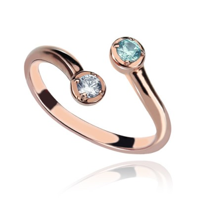 Dual Tropfen Geburtsstein Ring 18ct Rose Gold überzogen