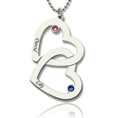 Doppel Herz Halskette mit Namen GLÜCKSSTEIN Sterling Silber