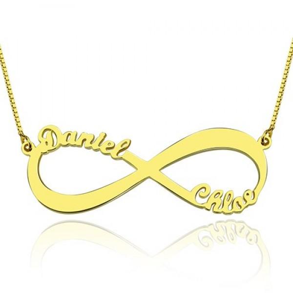 18 karätigem Gold überzogen Unendlichkeit Halskette Doppelnamen