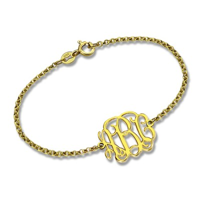 18ct Gold überzogenes Monogramm Armband