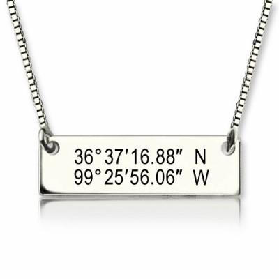 Benutzerdefinierte Silber Breite Länge Koordinaten Adresse Halskette