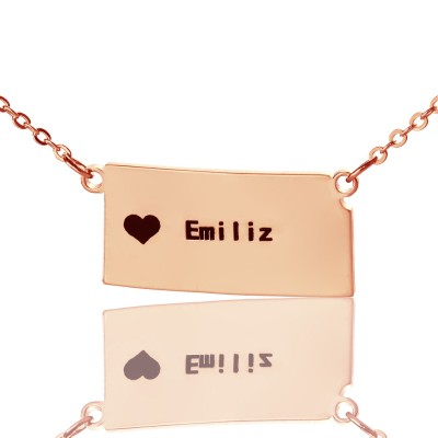 Benutzerdefinierte Kansas State geformte Halskette mit Herz Namen Rose Gold