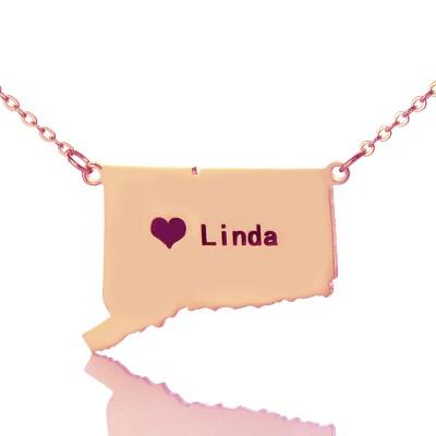 Connecticut Connecticut State geformte Halskette mit Herz Namen Rose Gold