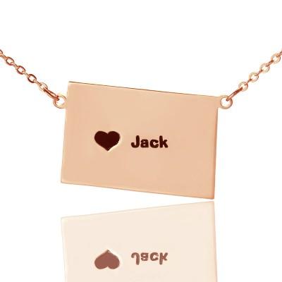 Individuelles Colorado State geformte Halskette mit Herz Namen Rose Gold