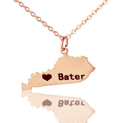 Benutzerdefinierte Kentucky State geformte Halskette mit Herz Namen Rose Gold