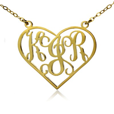 Solid Gold Initialen Monogramm Personalisierte Herz Halskette