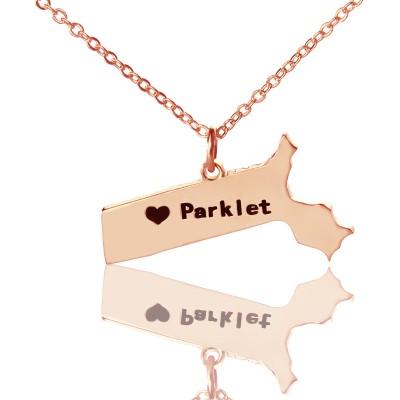 Massachusetts State Shaped Halskette mit Herz Namen Rose Gold
