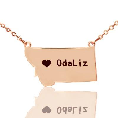 Benutzerdefinierte Montana State Shaped Halskette mit Herz Namen Rose Gold