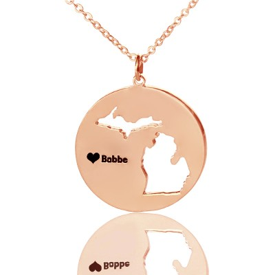 Benutzerdefinierte Michigan Disc Staat Halskette mit Herz Namen Rose Gold