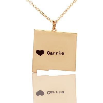 Benutzerdefinierte New Mexico State Shaped Halskette mit Herz Namen Rose Gold