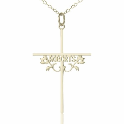 Silber Kreuz Name Halskette mit Rose