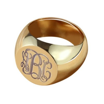 Kreis Designs Signet Monogramm Initialen Ring Rose Gold