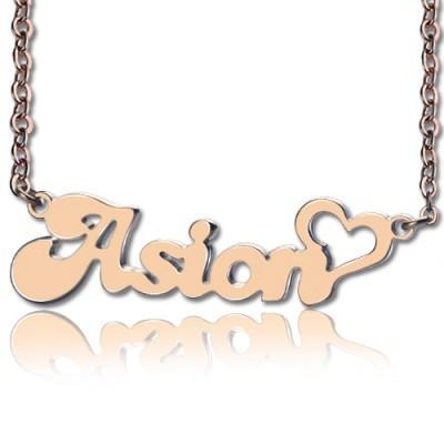 Personalisierte BANANEN Schrift Herz Namen Halskette 18ct Rose Gold überzogen Form