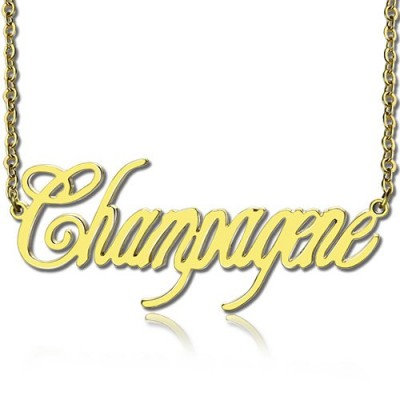 18ct Gold überzogenes Silber 925 Personalisierte Champagne Font Name Halskette