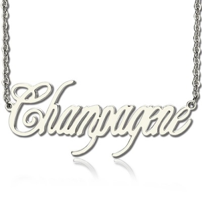 Solide White Gold Personalisierte Champagne Font Name Halskette