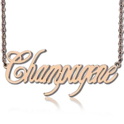 Feste Rose Gold Personalisierte Champagne Font Name Halskette