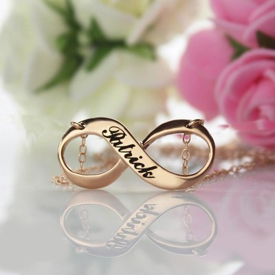 18ct Rose Gold überzogen mit Gravur Unendlichkeit Halskette