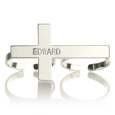 Benutzerdefinierte Zwei Finger Kreuz Ring mit eingraviertem Namen Sterling Silber