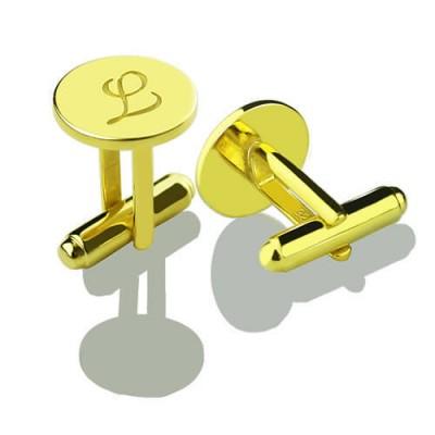 Benutzerdefinierte Script Initial Manschettenknöpfe für 18 karätigem Gold überzogen