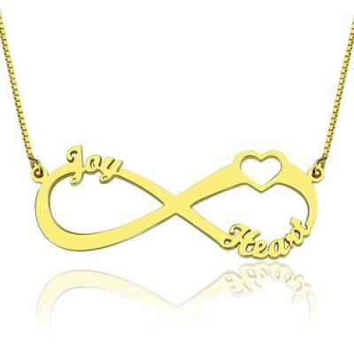 Herz Unendlichkeit Halskette 3 Namen 18ct Gold überzogen