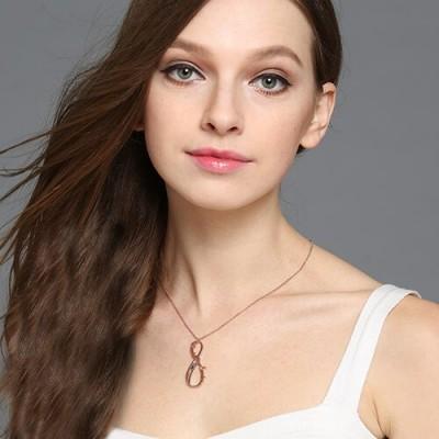 Vertikal Unendlich Zeichen Halskette mit GLÜCKSSTEIN 18ct Rose Gold überzogen