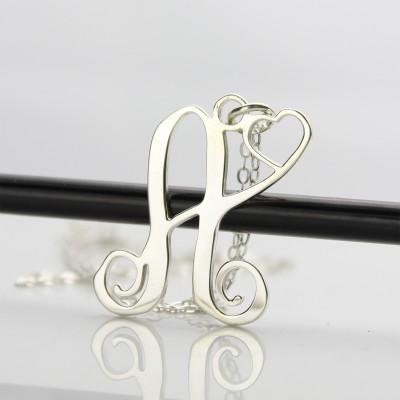 Benutzerdefinierte Ein Initial mit Herz Monogramm Halskette Solide 18 Karat Weißgold