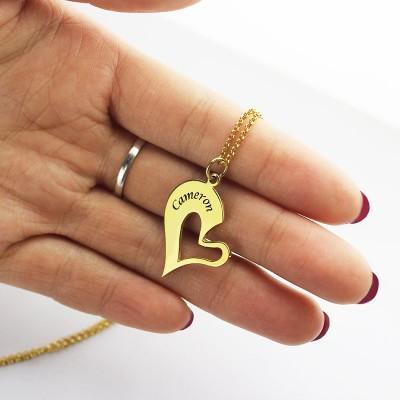 Doppelnamensherz Freund Halskette Paar Halskette Set 18 karätigem Gold überzogen