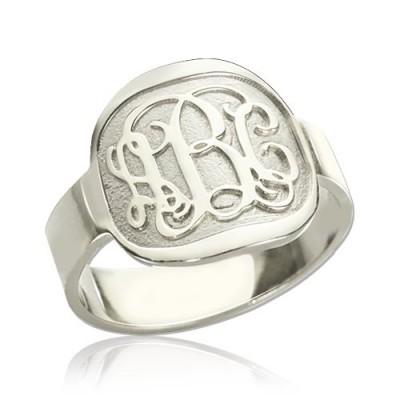Gravierte Design Monogramm Ring Sterling Silber