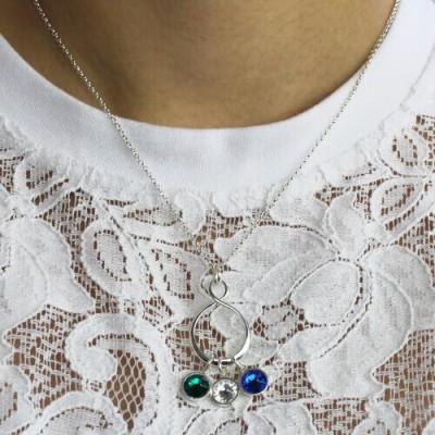 Personalisierte Geburtsstein Unendlichkeit Charme Halskette