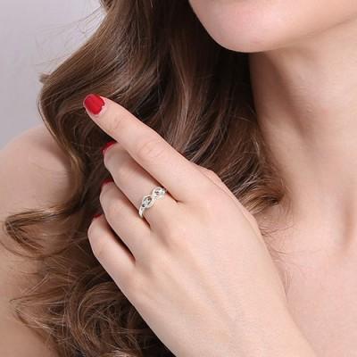 Sterling Silber oder Rose Gold Personalisierte Unendlichkeit Namensschild Ringe für ihre