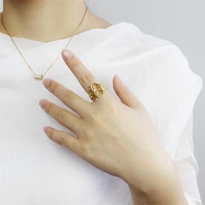 Interlocking Drei Initialen Monogramm Ring 18 Karat Gold überzogen