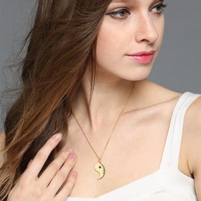 Yin Yang Halsketten Set für Paare oder Freund 18ct Gold überzogen