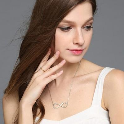 Herz Unendlichkeit Halskette 3 Namen Sterling Silber
