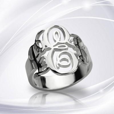 Personalisierte Fantastisches Monogramm Ring Sterlingsilber