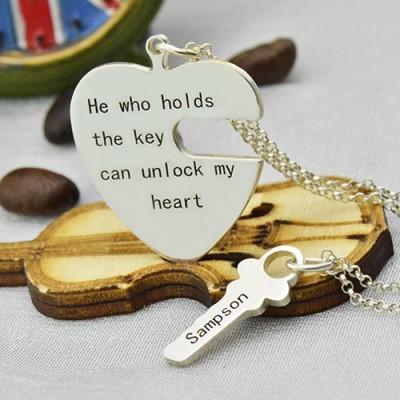 Key und Herz Halsketten Satz für Paare