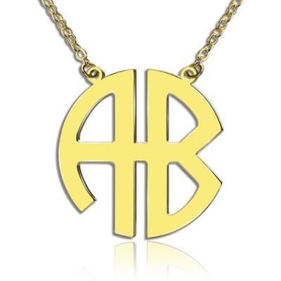 18ct Gold überzogene 2 Letters Hauptstadt Monogramm Halskette