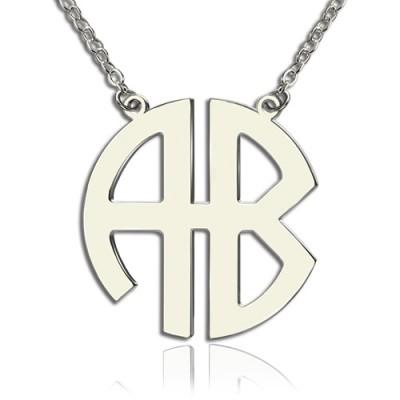 Zwei Anfängliche Block Monogramm Anhänger Halskette Solide White Gold