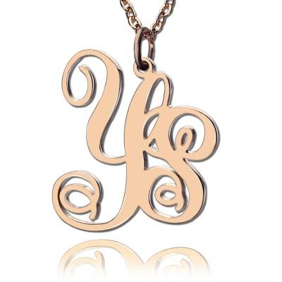 Personalisierte 18ct Rose Gold überzogen Rebe Schriftart 2 Initialen Monogramm Halskette