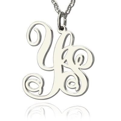 Personalisierte feste weiße Goldrebe Schriftart 2 Initialen Monogramm Halskette
