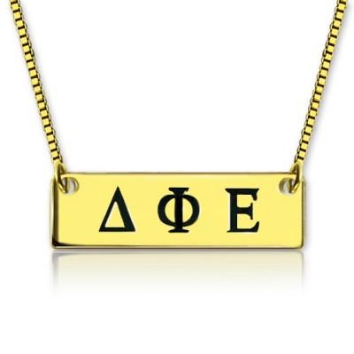Personalisierte Greek Letter Sorority Bar Halskette 18 karätigem Gold überzogen