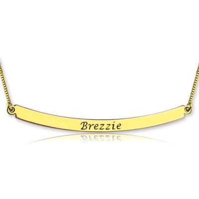 Personalisierte 18ct Gold überzogene Curved Bar Halskette